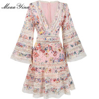 MoaaYina Fashion Designer Runway Dress Summer Women V Collar Flare Sleeve Lace Hollow Out Printing Embroidery