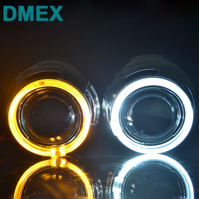 DMEX Car Lighting Store DMEX Q5 Perfect D2S Car HID Projector lens with Angel eyes 3.0 inch Bi Xenon projector lens Fit for H4-3  Car Light