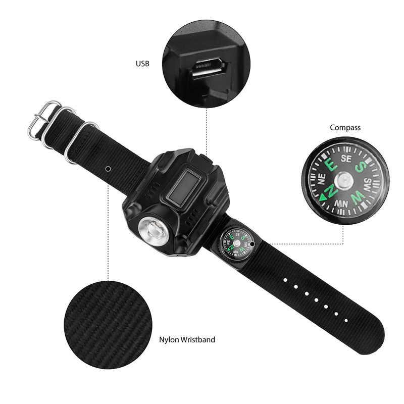 Wiederaufladbare LED Uhr Taschenlampe Handgelenk Taschenlampe mit Kompass