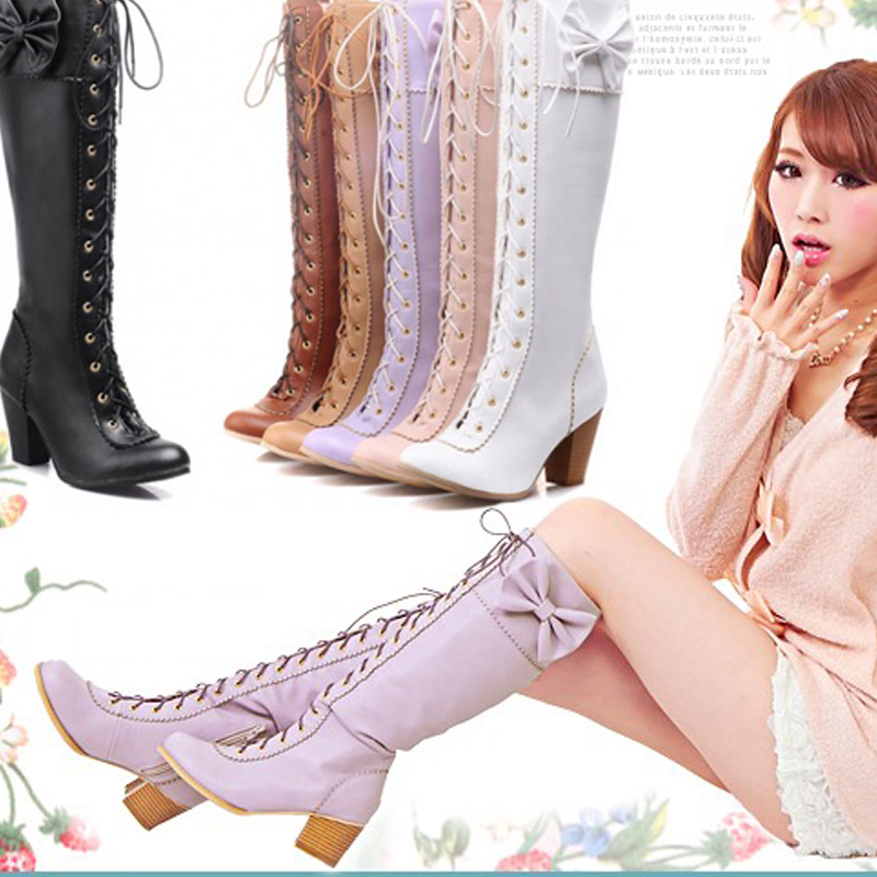 ФОТО Japanese Sweet Style Lolita Cosplay Boots PU Leather Lace-up Knee High Princess Winter Boots with Heels