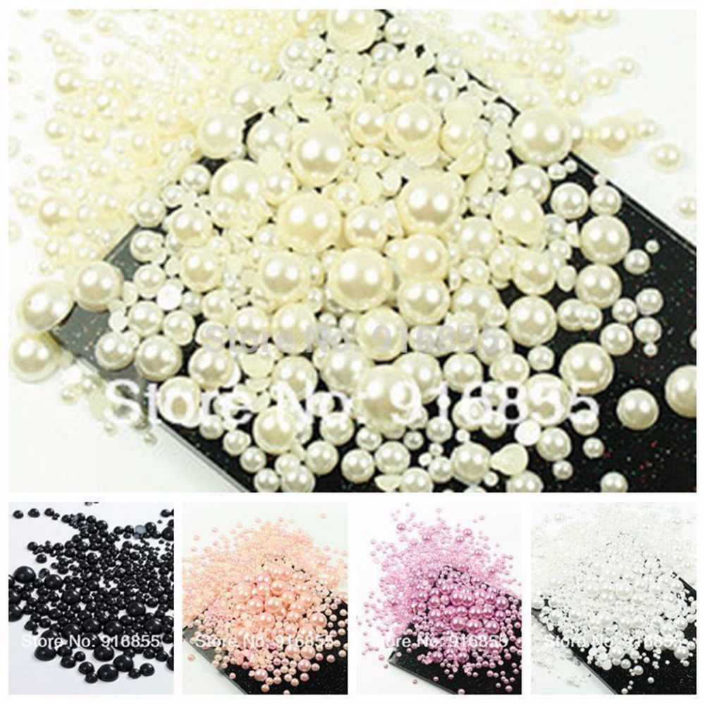 Sales!1000Pcs 50Gram Mixed 2-10mm Craft ABS Imitation Pearls Half Round Flatback Pearls Resin Scrapbook Beads For DIY Decoration