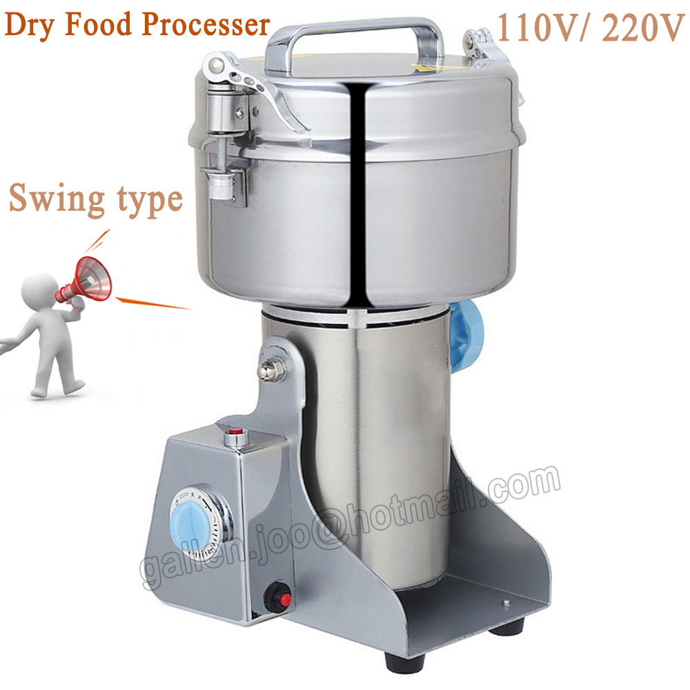 Stainless Steel Herb Grinder; 1000g Swing Food Powder Grinding Machine; Coffe Grinder; Automatic Electric Flour Milling 1000g 98% fish collagen powder high purity for functional food