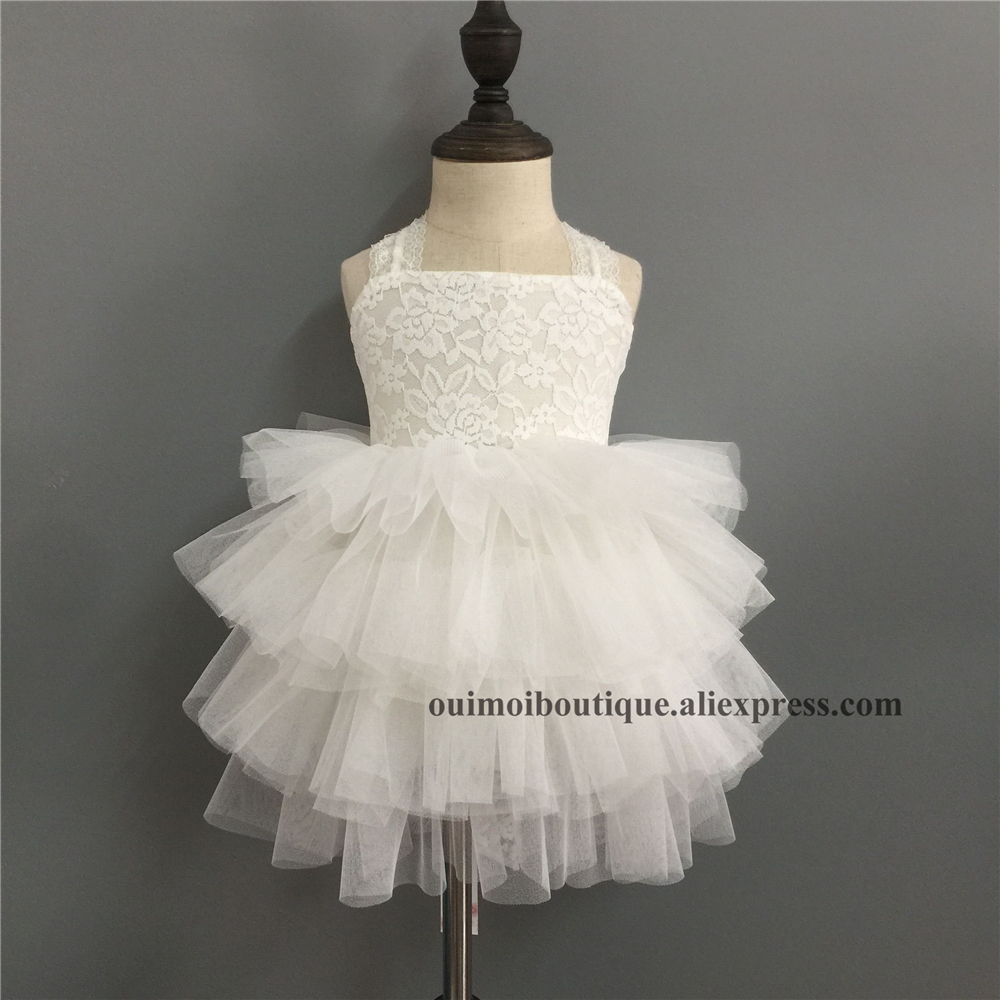 869abbe607 2018 summer new baby girls white puffy dresses lace bow princess slip  dresses for wedding backless tutu costume Layered Dress