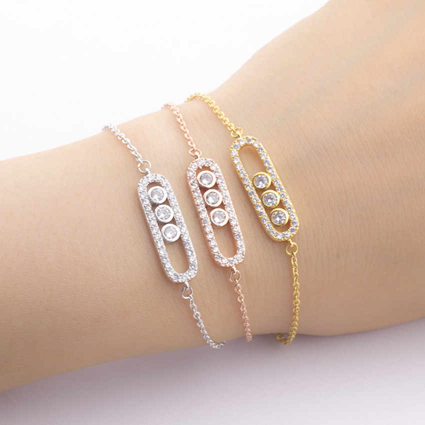 ICFTZWE Stainless Steel Bracelets Femme Pulseira Charms 1& 3 Bead CZ Geometric Bar Bracelets For Women Hand Chain Gold Bileklik