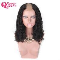 Афро кудрявый вьющиеся у части парик 100% монгольских Человеческие волосы парик средней открытие 2*4 дюйма Размеры парик Мечтая Queen Волосы Remy