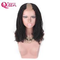 Afro Kinky Kıvırcık U Parçası Peruk 100% Moğol İnsan Saç peruk Orta Açılış 2*4 İnç Boyutu Peruk Dreaming Kraliçe Remy saç
