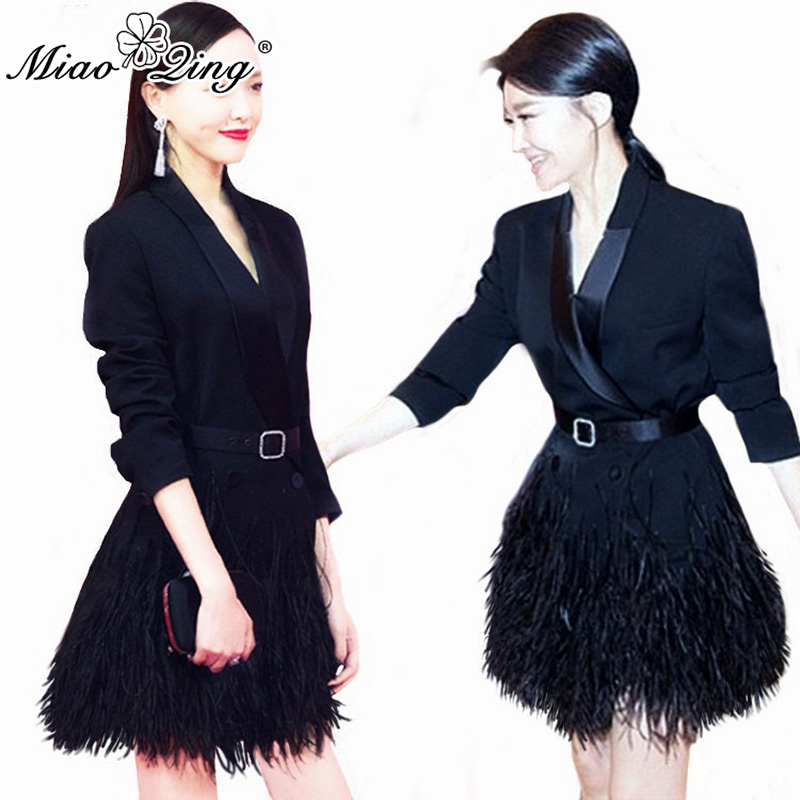 MIAOQING High Quality Women Fashion Office Lady Sexy V Neck Patchwork Feathers Blazer Dress Elegant Black Belt Slim Long Coat