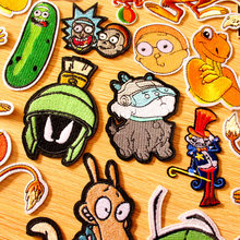 DIY Hook Loop Patch Anime Rick and Morty Embroidered Patches For Clothing Iron On Clothes Stripes Badges