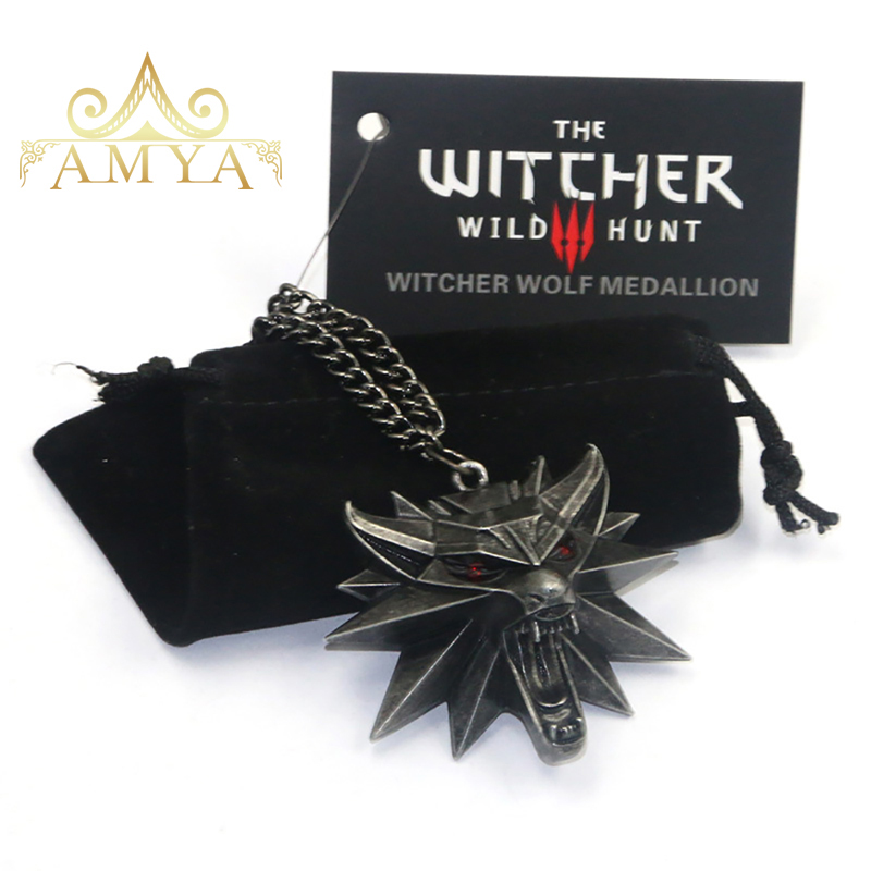 2017 New Style Hot Sale The Witcher 3 Necklace Pendant Medallion Wizard Wild Wolf Hunt 3 Pendant Include 1 Bag 1 Tag & 1 Card