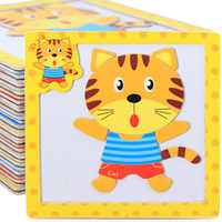 Montessori Toys Educational Wooden Toys for Children Early Learning Puzzle 3D Magnetic Cartoon Animal Math Intelligence Jigsaw
