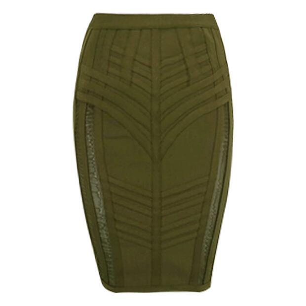Women New Fashion Sexy Bandage Skirt Women Elastic Army Green Olive Rayon Bodycon Pencil Skirts