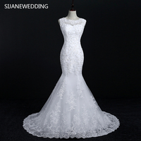 SIJANE Summer Sexy Sleeveless Crystal Decoration Mermaid Party Dresses White V Back Bridal Gowns Dresses 0751