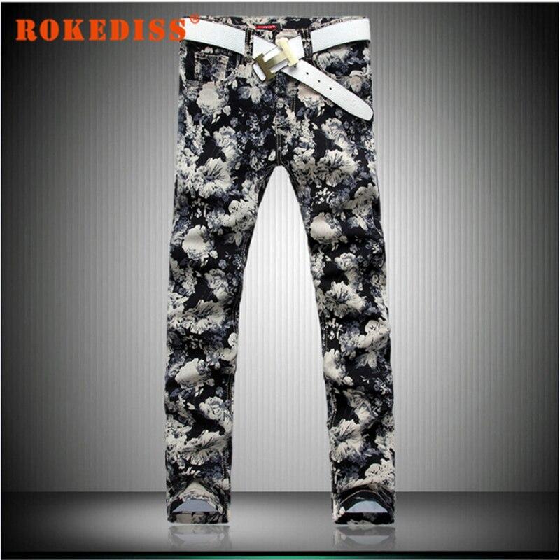 Print Denim Jeans Men Zipper Pants Cotton Men Jeans Skinny Regular Slim Men Jeans Straight 2016