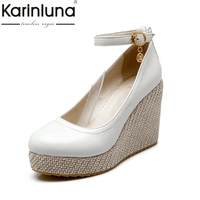 KarinLuna New Spring New Big Size 32 43 Retro Wedges High Heels Platfrom Women Shoes Pumps Comfortable Date Shoes Woman