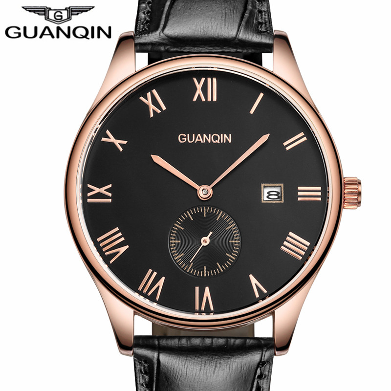 Quartz Watch GUANQIN Watch Men Leather Luxury Brand Men Clock Fashion Casual Date Analog Sport Waterproof Wristwatch Gifts
