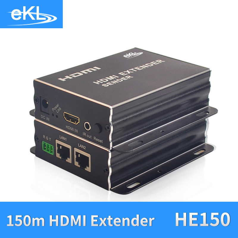 EKL HDMI Extender 150M HD 1080P Transmitter TX/RX with IR Over CAT6 RJ45 Ethernet Cable Support HDMI 3D for TV Projector DVD mirabox coax hdmi ir extender support 1080p full hd 200m 300m 400ft over coaxial cable coax bnc port ir hdmi over coax coaxial