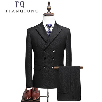 TIAN QIONG  Double Breasted Suit Men 2018 Slim Fit Mens Wedding Suits Black Grey Mens Suits with Pants Business Formal Wear tian qiong mens black wool suits latest coat pant designs chinese style stand collar slim fit groom wedding suit formal wear