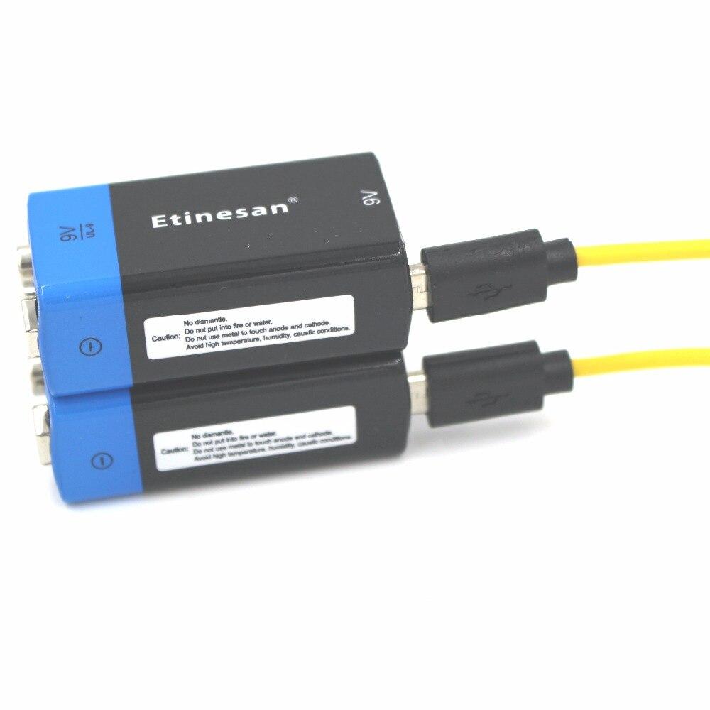 8 шт. Etinesan большой емкости 9 В 4500mWh литий ионные литий полимерные аккумуляторные батареи + USB зарядный кабель набор - 4