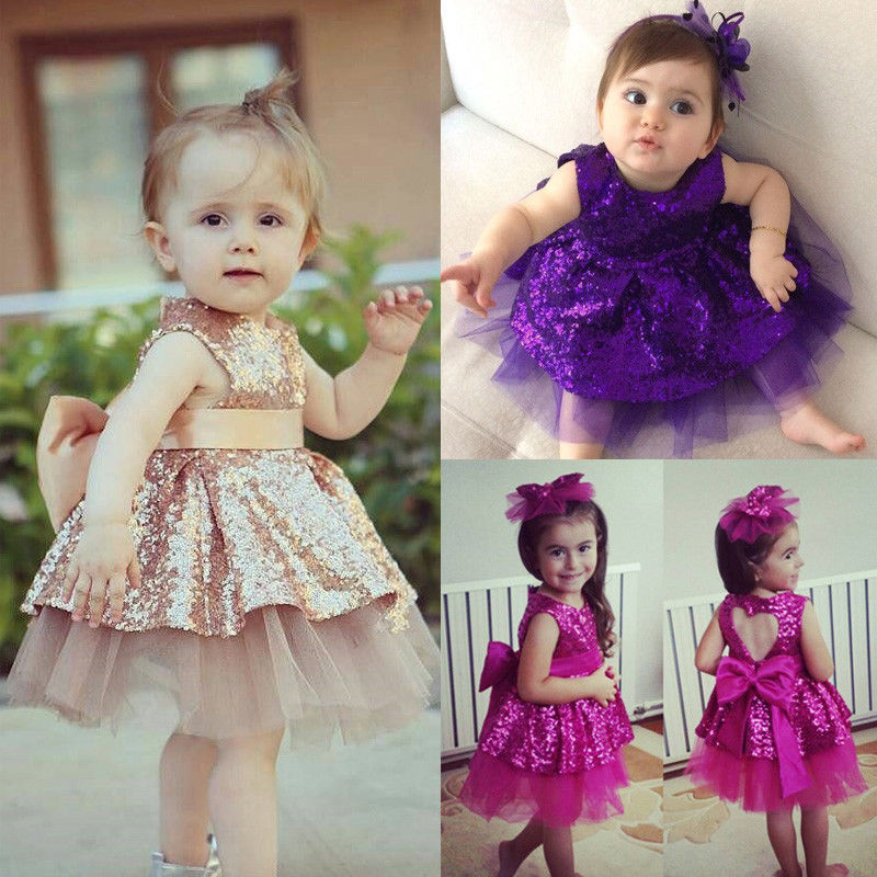 Princess Kids Baby Girls Sequins Dress Sleeveless Toddler Baby Party Tutu Dress Wedding Gown Formal Dresses cute girls fashion dress summer kid girls sleeveless belt flowers tutu princess party dresses ball gown kids dresses