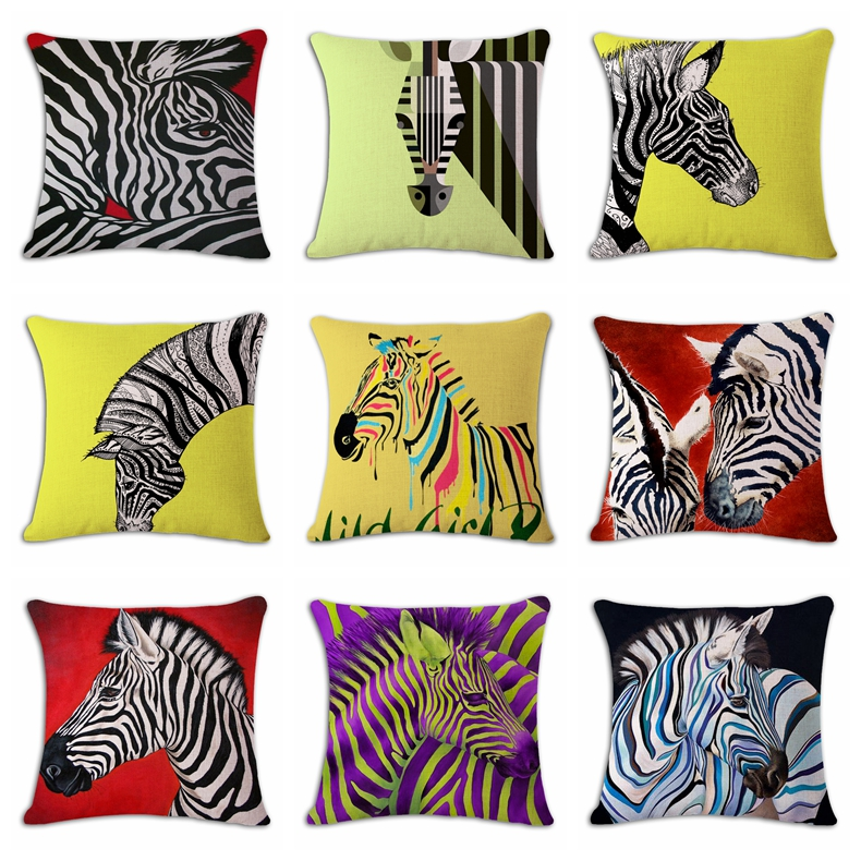 Hand-painted Zebra Cushion Cover Print Linen Family Affection Sofa Car Seat Home Decorative Throw Pillow  Case Housse De Coussin