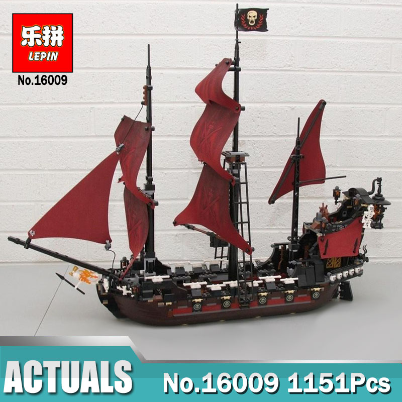 New LEPIN 16009 1151pcs Queen Anne's revenge Pirates of the Caribbean Building Blocks Set Bricks Compatible legoing 4195 купить в Москве 2019