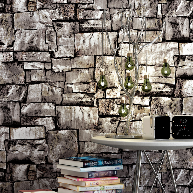Pvc wallpaper 3d embossed imitation brick stone vintage - Papel paredes vintage ...