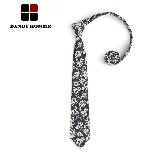 DANDY HOMME 2015 High Quality Small Floral Printed Deep Blue Korean Style Personal Fashion Neck Tie Business Wedding Groom Ties