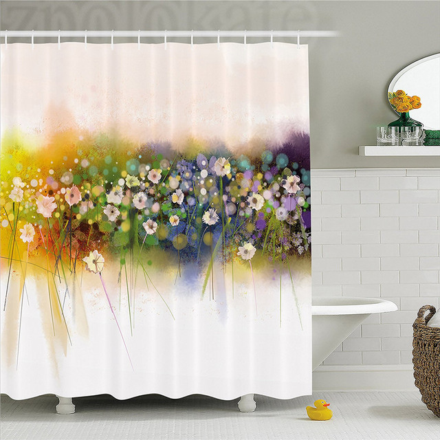 Watercolor Flower Home Decor Shower Curtain Vogue Display Wisteria Violets Wreath Fragrant Plants Herbs Artsy Bathroom