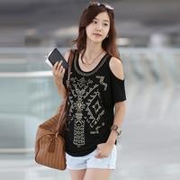 Fashion Vintage T Shirt Womens 2017 Off Shoulder Casual Tops Diamonds XXL T Shirt For Women