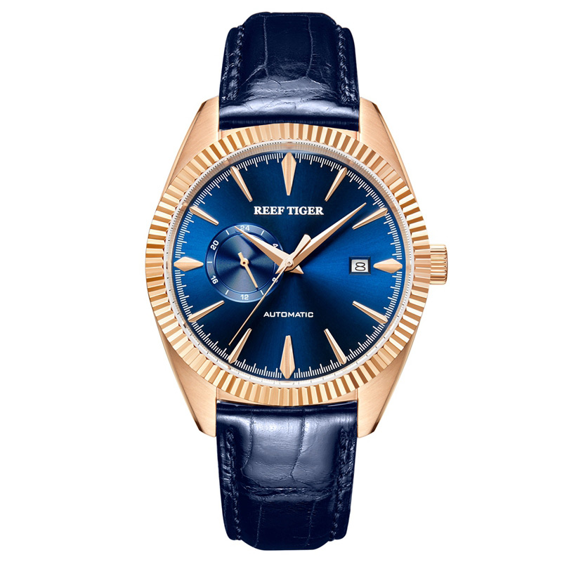 2018 Reef Tiger/RT Top Brand Luxury Mechaincal Watch for Men Blue Leather Waterproof Watches Date Relogio Masculino RGA1616 2018 reef tiger rt top brand sport watch for men luxury blue watches leather strap waterproof watch relogio masculino rga3363