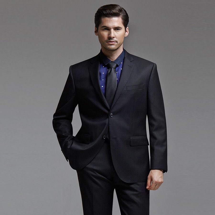 Classic Black Business Suit Groom Tuxedos Wedding Suit Maturation Slim Fit Formal Suits for Men 3 Pieces (Jacket+Vest+Pants)