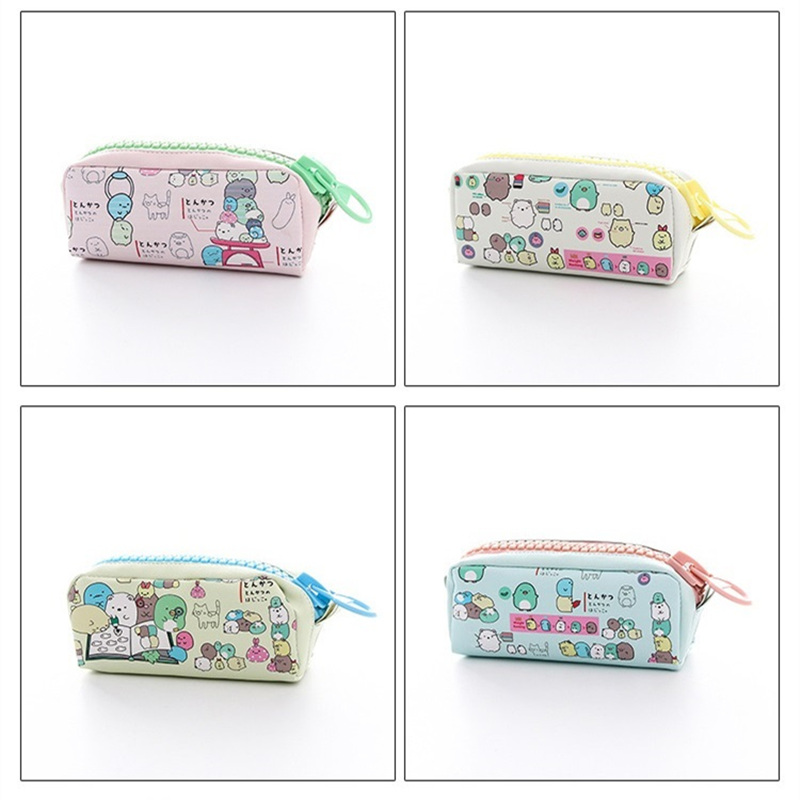 4 pcs/Lot PU material cartoon pen bag Macaron color school pencil case for kids gift Storage stationery Office supplies A6316 south korea stationery creative cartoon cute kitten pu wallet key bag storage material