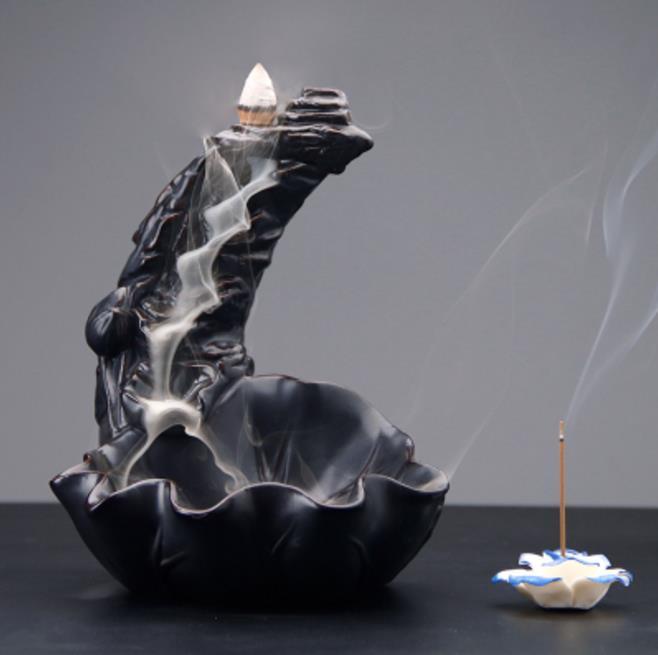 Creative Waterfall Porcelain Backflow Ceramic Cone Incense Burner Holder Decor