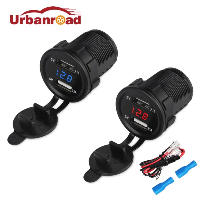 Urbanroad Boat Motorcycle Car USB Charger Socket Voltmeter Cigarette Lighter Car Dual USB Charger Adapter Voltage 4 2a 12v