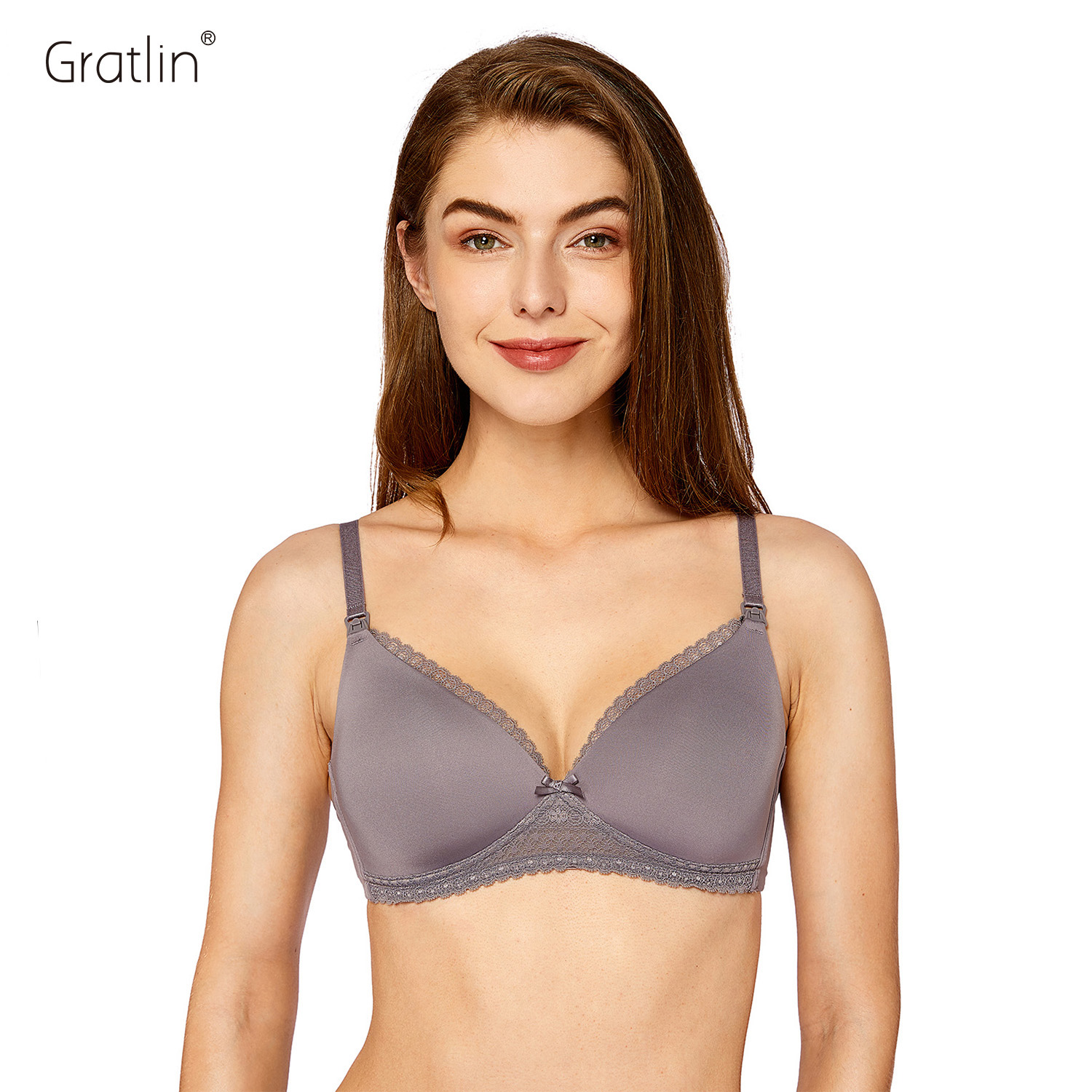 GRATLIN Women's Lightly Padded Breastfeeding Bra Wirefree Lace Lining Maternity Nursing Bra eyelash lace panel see thru bra