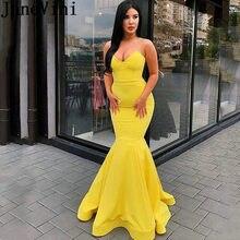 d89e84ab8c JaneVini Simple amarillo sirena vestidos de graduación 2019 sin tirantes  Color caramelo sin respaldo Sexy Vestido