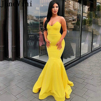JaneVini Simple Yellow Mermaid Prom Dresses 2019 Strapless Candy Color Backless Sexy Long Evening Dress Arab Ladies Formal Wear