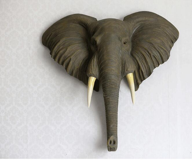 Imitation elephant head sculpture wall hang handicraft decorations home decoration accessories statue escultura estatua gift in Statues Sculptures from Home Garden