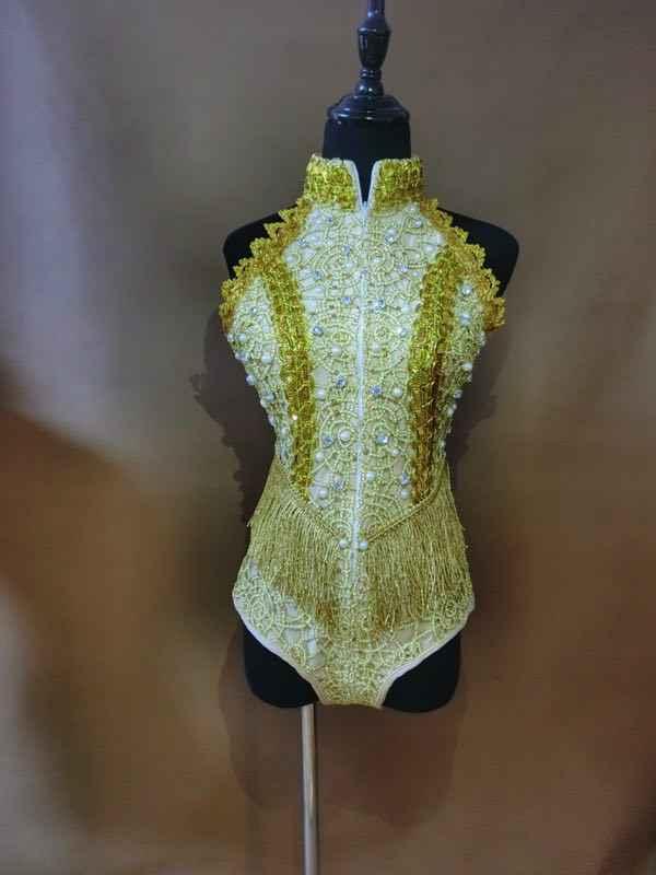 Klub nocny Bar DJ wokalistka etap nosić złoto srebrne perły frędzle body bez rękawów frędzle body Sexy kostium taneczny