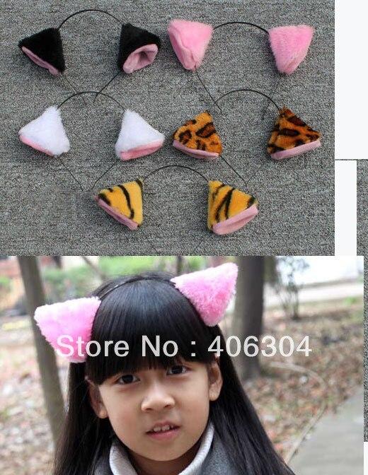 Косплей, черный, розовый, белый цвет, кошачьи ушки, повязка на голову/детский день выступления/талисман, повязка на голову