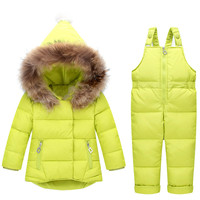 Winter Baby Girls Jumpsuit New Fashion Fur Hooded White Duck Down Coat+thick Parka Pants 2pcs Snowsuit Childrn Clothing Outwear