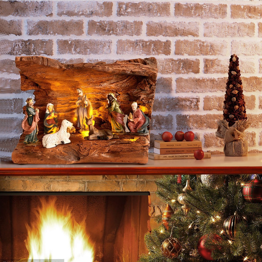 resin collection christmas nativity scene village houses with warm white led light up in statues sculptures from home garden on aliexpresscom alibaba