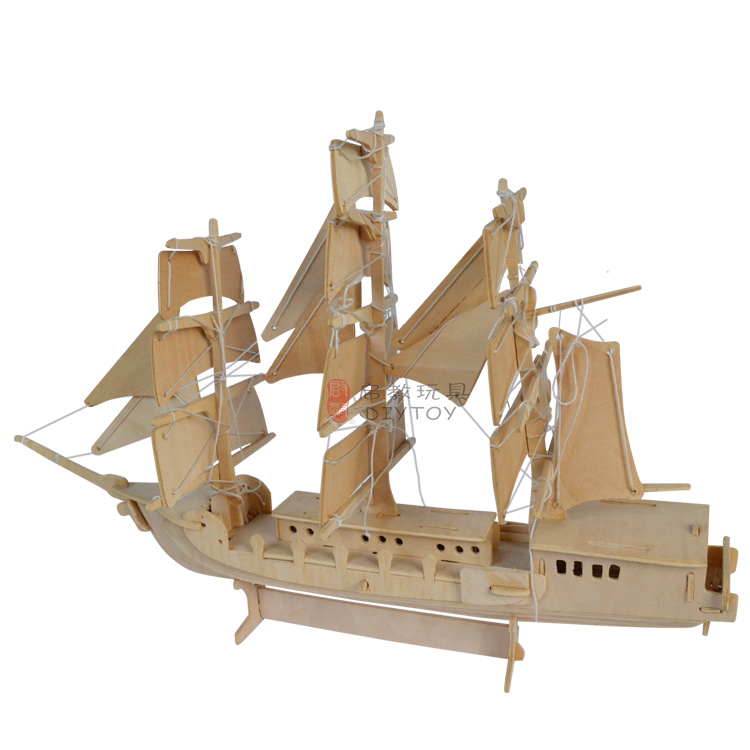 3D kids toys wooden jigsaw puzzle,DIY wooden barin games,Sailing ...