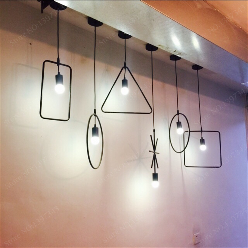Black Round/Triangle/Rectangle Dining Light Nordic Modern Kitchen ...