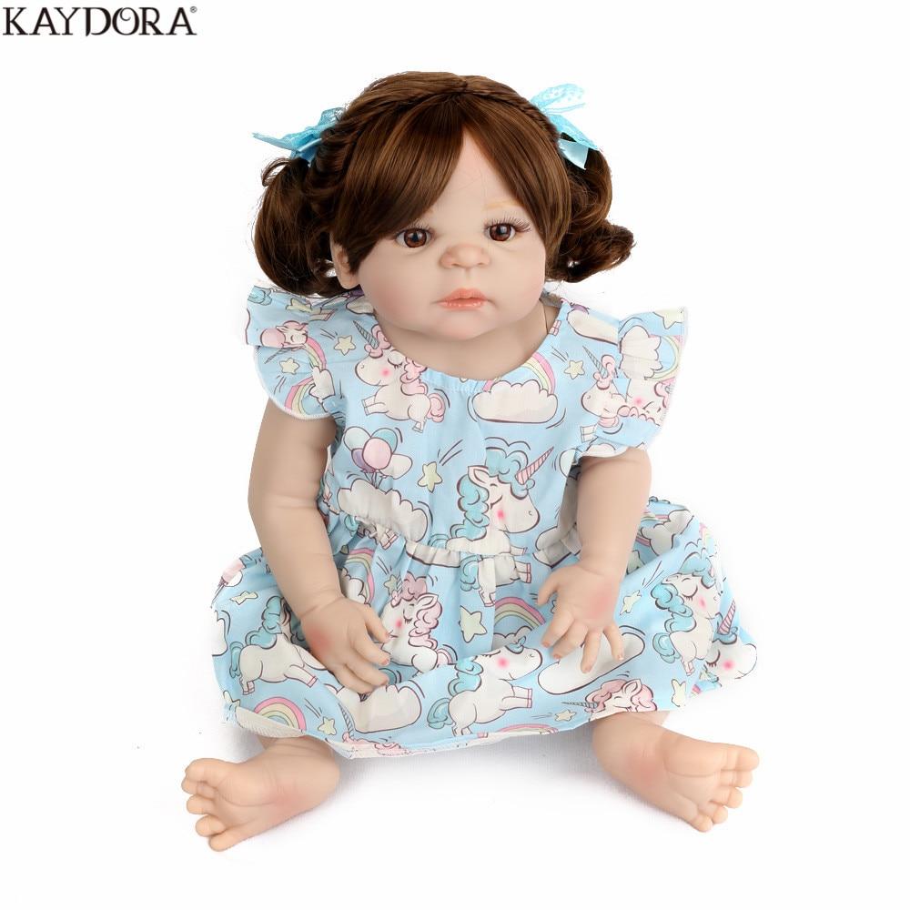 KAYDORA Full Silicone Reborn Baby Girl Dolls 22inch 55cm Lifelike Realistic Kid Boneca Doll Toys Grils
