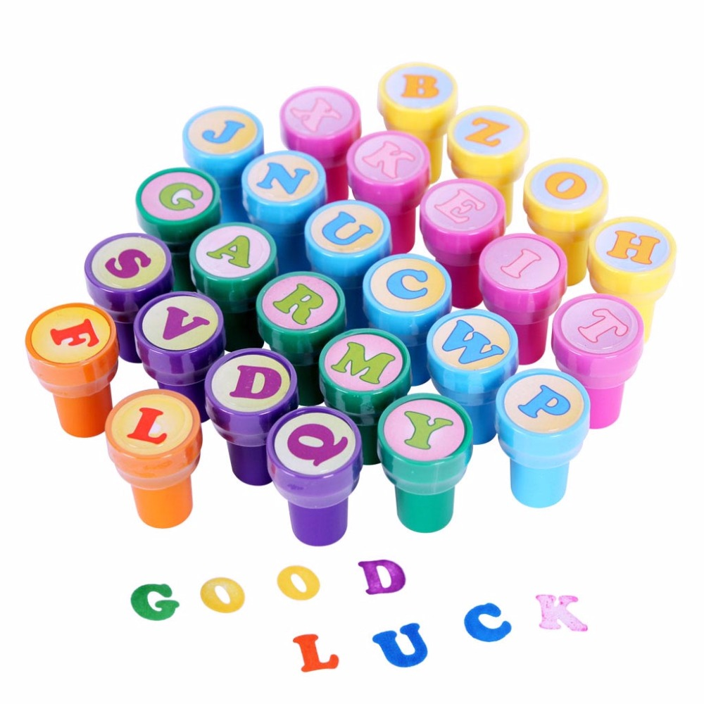 New 26 Pcs DIY Letter Alphabet Stamp Toy Sets Teach Kids Alphabet Number Drawing Toy Stamps Set Birthday Party Gift