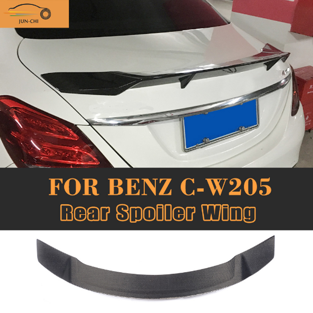 C Class Carbon Fiber Rear Trunk Lid Spoiler Wing for Mercedes Benz W205 Sedan 4 Door Only 2015-2017 C63 AMG C200 C300 C400 C450 w205 abs car side fender vent trim e amg still for benz w205 c180 c200 c300 4 door not fit for c63 amg 2015 2018