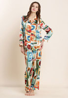 2016 New 100 Real Silk Sleepwear For Ladies Womens Nightgown Multicolor Painting Design Pajamas Sets Shirt