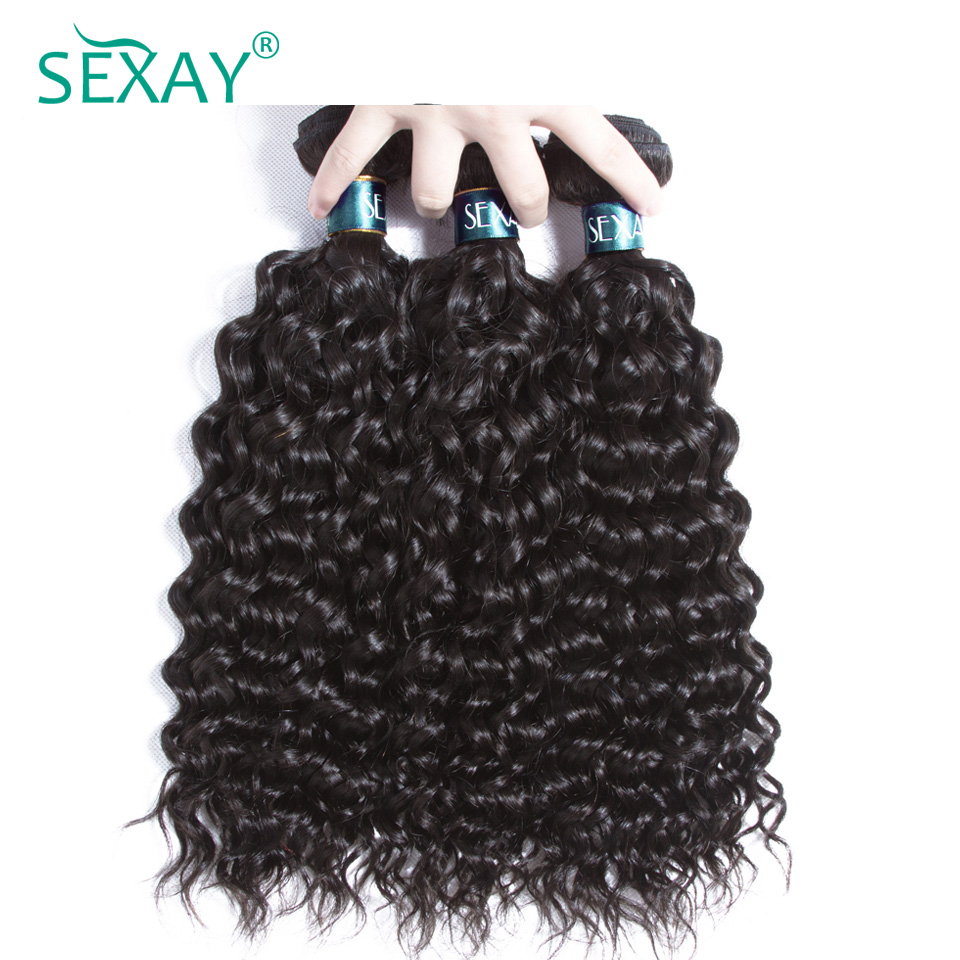 Sexay 100% Human Hair Bundles Pack 3 PCS Lot Remy Hair Weave Brazilian Water Wave Hair Extensions Natural Color 10 to 26 Inch