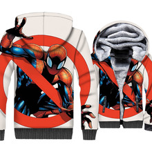 Funny Anime Hoodies Winter Thick Zipper Sweatshirt Harajuku Unisex Tracksuit 2018 Fashion 3D Super Spiderman Coat Jacket